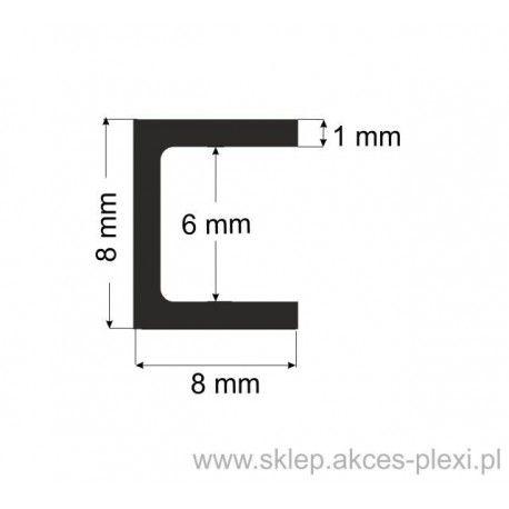 Profil aluminiowy - ceownik - 8x8x1mm- 4mb