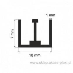 Profil aluminiowy - dwuceownik 74004 - 7x18x1mm - 4mb