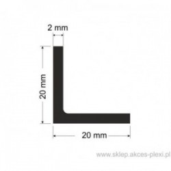 Profil aluminiowy - kątownik - 20x20x2mm - 4mb