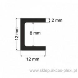 Profil aluminiowy - ceownik - 12x12x2mm- 6mb