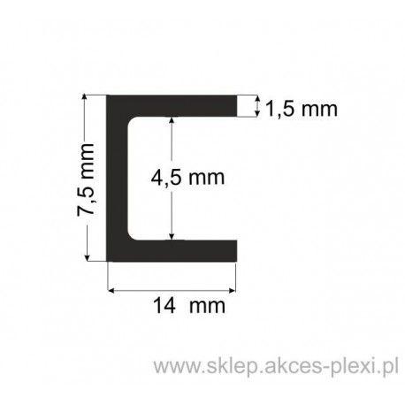 Profil aluminiowy - ceownik - 7,5x14x1,5mm- 6mb