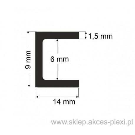Profil aluminiowy - ceownik - 9x14x1,5mm- 6mb