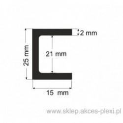 Profil aluminiowy - ceownik - 25x15x2mm- 4mb