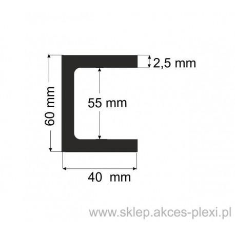 Profil aluminiowy - ceownik - 60x40x2,5mm- 6mb