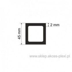 Profil aluminiowy rura kwadratowa - 45/2mm - 6 mb