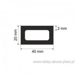 profil aluminiowy rura prostokątna - 40/20/2mm - 4mb
