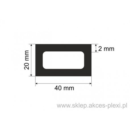 profil aluminiowy rura prostokątna - 40/20/2mm - 6mb