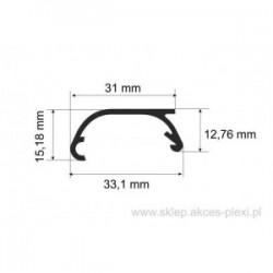 Profil aluminiowy wystawowy A-6074 33,1/31/15,18 mm- 3 mb anodowany
