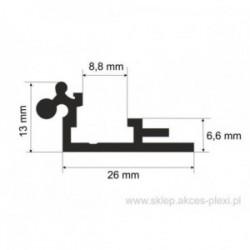 Profil aluminiowy wystawowy A-6075 26/13/8,8 mm- 4mb
