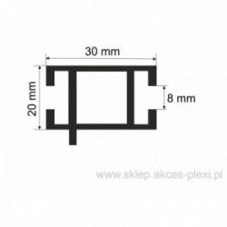 Profil aluminiowy wystawowy A-6132  30/20/8 mm- 4mb