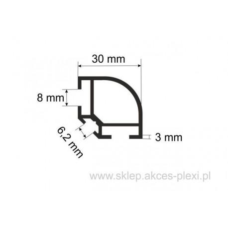 Profil aluminiowy wystawowy A-6036  30/6,2/8 mm- 6mb