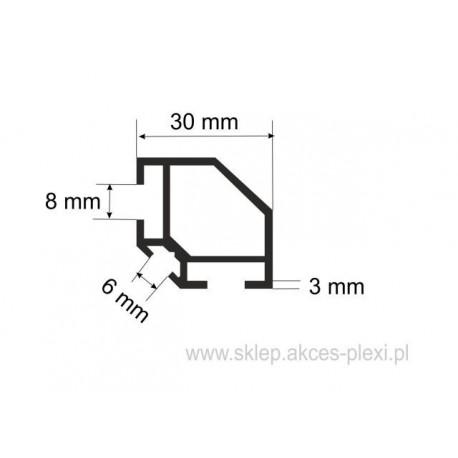 Profil aluminiowy wystawowy A-6130 30/6/8 mm- 5mb