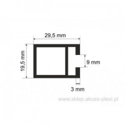 Profil aluminiowy wystawowy S- 30143 29,5/19.5/9 mm- 6mb