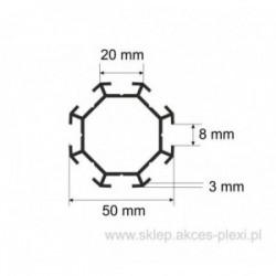 Profil aluminiowy wystawowy A-6131 50/20/8 mm- 4mb