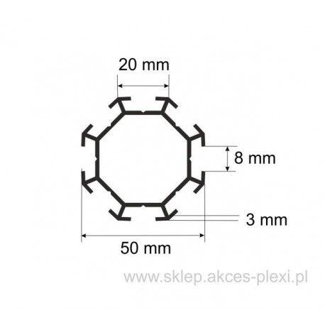 Profil aluminiowy wystawowy A-6131 50/20/8 mm- 5mb