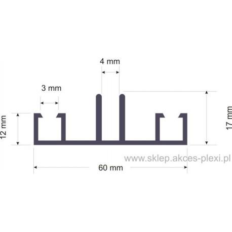 Profil aluminiowy dolny 1556  60mm-6mb