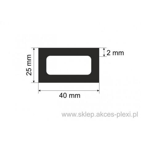 profil aluminiowy rura prostokątna - 40/25/2mm - 4,4mb