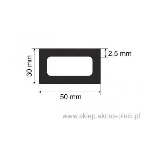 profil aluminiowy rura prostokątna - 50/30/2,5mm - 6mb
