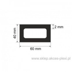 profil aluminiowy rura prostokątna -60/40/2mm - 6mb