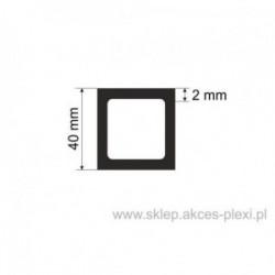 Profil aluminiowy rura kwadratowa - 40/2mm - 6 mb