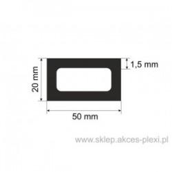profil aluminiowy rura prostokątna - 50/20/1,5mm - 6mb