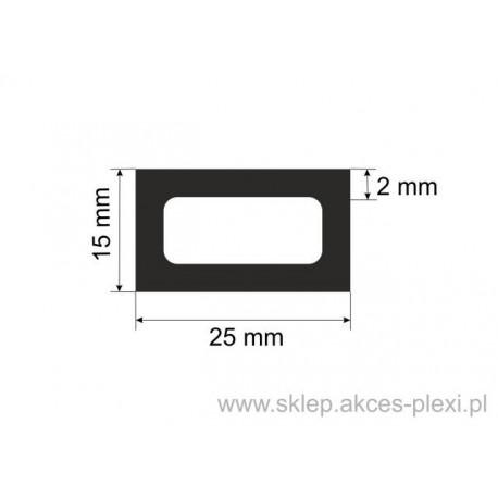 profil aluminiowy rura prostokątna - 25/15/2 mm - 4mb