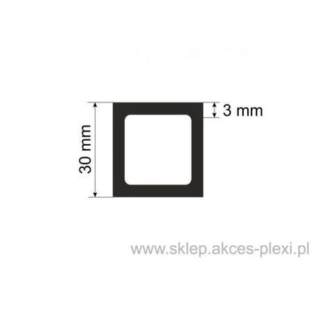 Profil aluminiowy rura kwadratowa - 30/3 mm - 6 mb