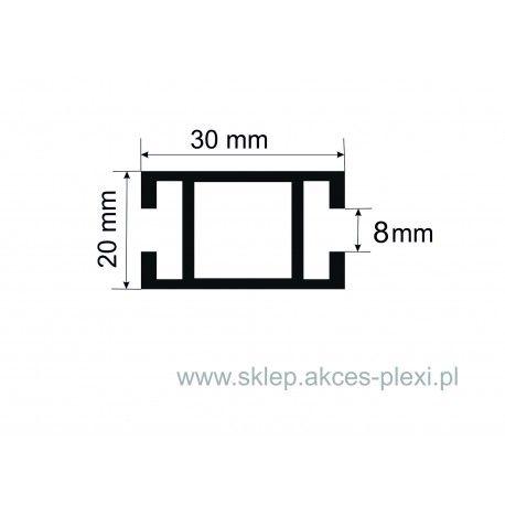 Profil aluminiowy wystawowy A-6037 30/20/8 mm- 4mb