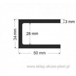 Profil aluminiowy - ceownik - 34x50x3 mm- 6mb